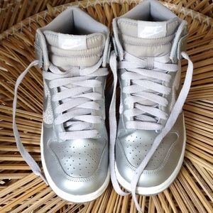 Silver sequin Nike high top shoes